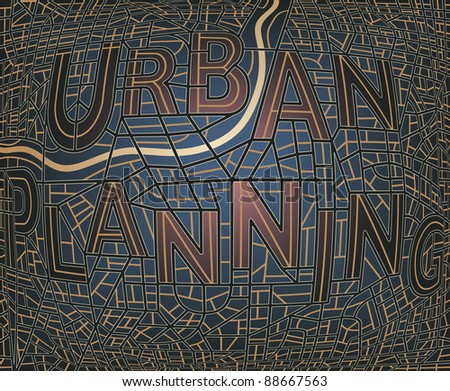 """Editable vector map of a generic city with the streets spelling the words """"Urban Plan"""" - stock vector"""