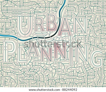 """Editable vector map of a generic city with the streets spelling the words """"Urban Planning"""", includes letter outlines for easy color change - stock vector"""
