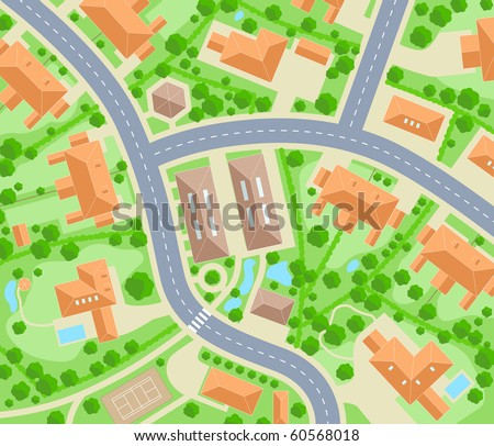 Editable vector map of a generic residential area - stock vector