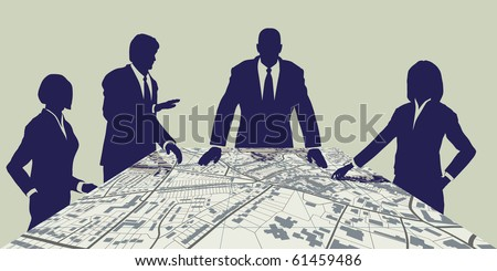 Editable vector map of people meeting around a generic city map - stock vector