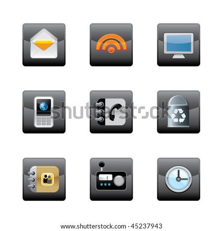 Editable vector media icons - stock vector