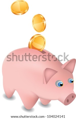 Editable vector money band and falling coins - stock vector
