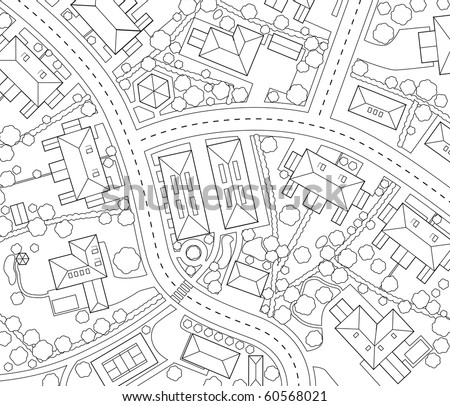 Editable vector outline map of a generic residential area - stock vector