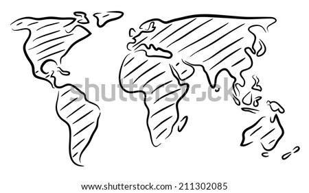 Editable vector rough outline sketch of a world map - stock vector
