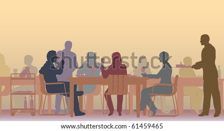 Editable vector scene of people eating in a restaurant - stock vector
