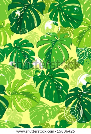 Editable vector seamless repeating leaf background texture, floral background illustration - stock vector