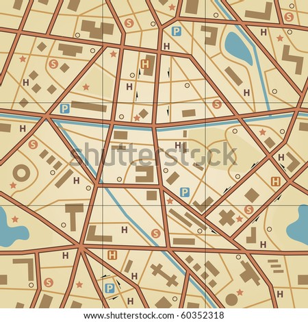 Editable vector seamless tile of a generic city without names - stock vector