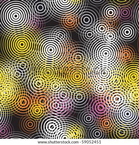 Editable vector seamless tile of concentric circles - stock vector