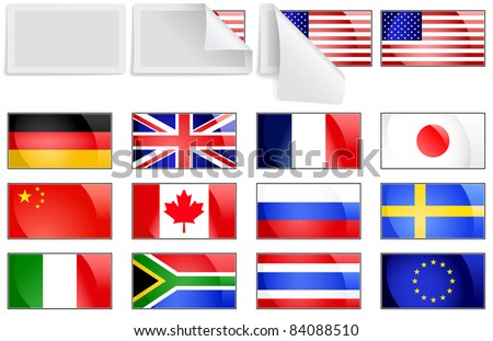 Editable vector selection of fresh bright international flag transfer stickers with unpeeling cover