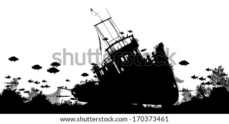 Editable vector silhouette foreground of coral and fish around a sunken boat with ship and fish as separate objects - stock vector