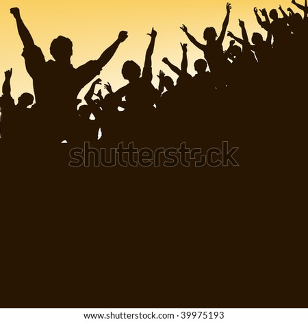 Editable vector silhouette looking up at a celebrating crowd