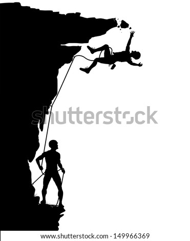 Editable vector silhouette of a climber falling from a breaking overhang with figures as separate objects - stock vector