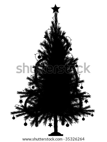 Editable vector silhouette of a detailed Christmas tree with tree and decorations as separate objects - stock vector