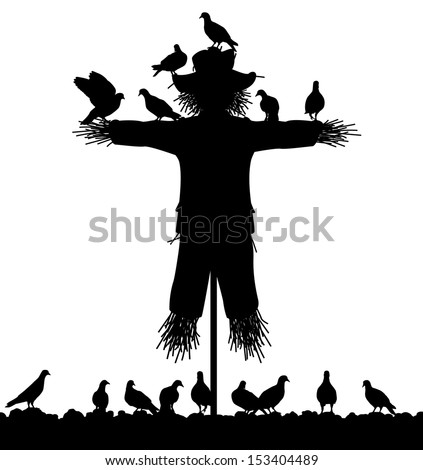 Editable vector silhouette of a flock of pigeons on a scarecrow with all figures as separate objects - stock vector