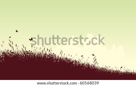 Editable vector silhouette of a grassy meadow and clouds with copy space - stock vector