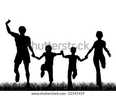 Editable vector silhouette of a happy family running through grass with each figure a separate object