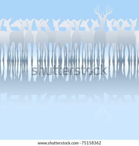 Editable vector silhouette of a herd of deer and reflection