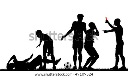 Editable vector silhouette of a referee sending off a footballer with all elements as separate objects - stock vector