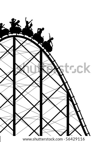 Editable vector silhouette of a steep rollercoaster ride - stock vector