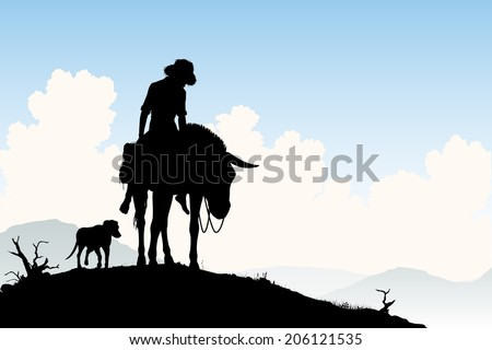 Editable vector silhouette of a weary traveler riding his donkey with dog following - stock vector