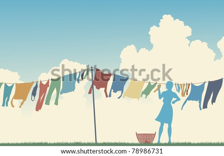 Editable vector silhouette of a woman hanging clothes on a washing line - stock vector