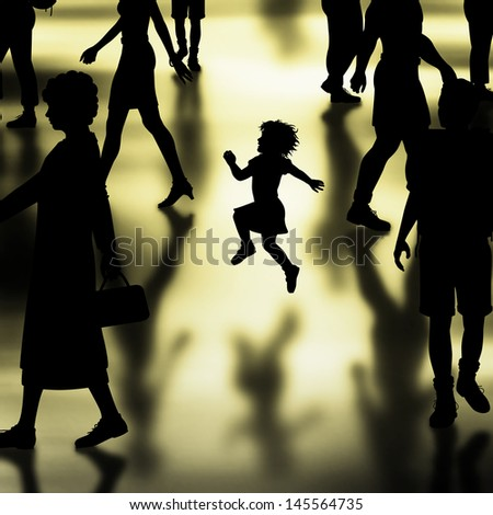 Editable vector silhouette of a young girl skipping in a crowded hall made using a gradient mesh - stock vector