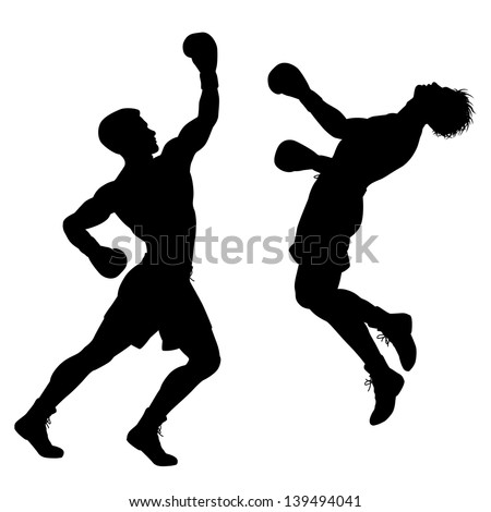Editable vector silhouette of boxer knocking out his opponent with an uppercut punch - stock vector