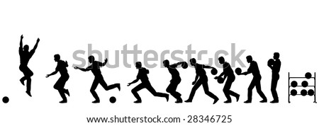 Editable vector silhouette sequence of a man bowling