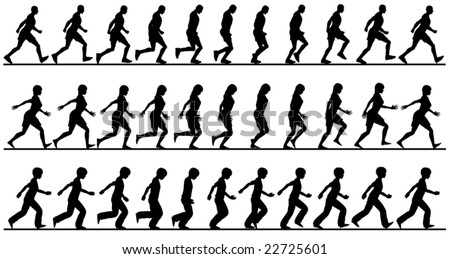 Editable vector silhouette sequences of people walking