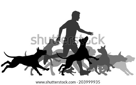 Editable vector silhouettes of a man and pack of dogs running together with all elements as separate objects - stock vector