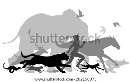 Editable vector silhouettes of a man running together with various animals - stock vector