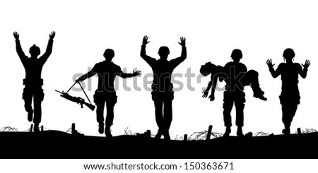 Editable vector silhouettes of a troop of defeated soldiers surrendering - stock vector