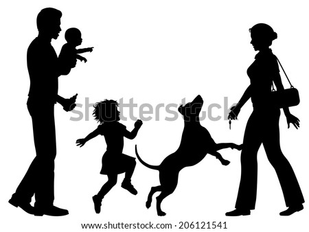 Editable vector silhouettes of a woman welcomed home by husband, children and dog with all figures as separate objects - stock vector