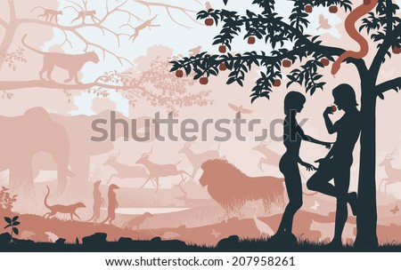 Editable vector silhouettes of Adam and Eve in the Garden of Eden with all figures as separate objects - stock vector