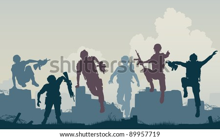 Editable vector silhouettes of armed soldiers charging forward - stock vector