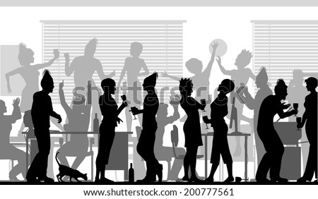 Editable vector silhouettes of business people at an office party with all elements as separate objects