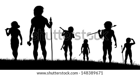 Editable vector silhouettes of cavemen hunters with each figure as a separate object - stock vector