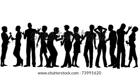 Editable vector silhouettes of men and women standing at a party with every person as a separate object - stock vector