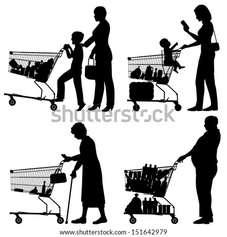 Editable vector silhouettes of people and their supermarket shopping trolleys with all elements as separate objects - stock vector