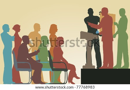 Editable vector silhouettes of people at an art auction - stock vector