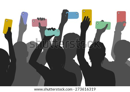 Editable vector silhouettes of people holding up smartphones to record an incident - stock vector