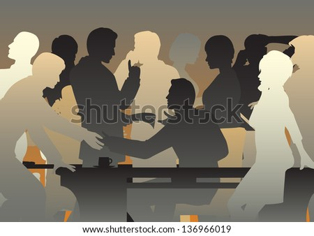 Editable vector silhouettes of people in a busy office or meeting - stock vector