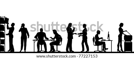 Editable vector silhouettes of people in a busy office with all elements as separate objects - stock vector