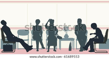 Editable vector silhouettes of people sitting in a waiting room - stock vector