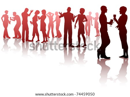 Editable vector silhouettes of people socializing at a party - stock vector