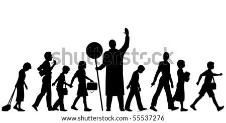 Editable vector silhouettes of school children crossing a road - stock vector