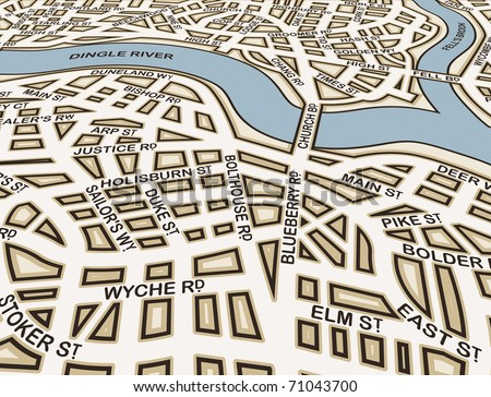 Editable vector street map of an angled generic city with street names - stock vector