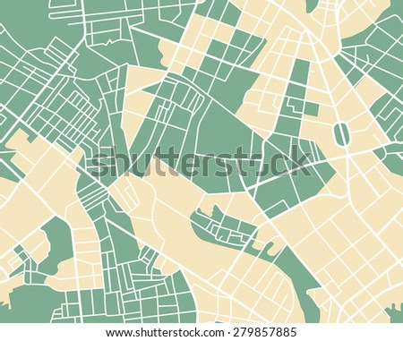 Editable vector street map of town as seamless pattern. Vector illustration. - stock vector