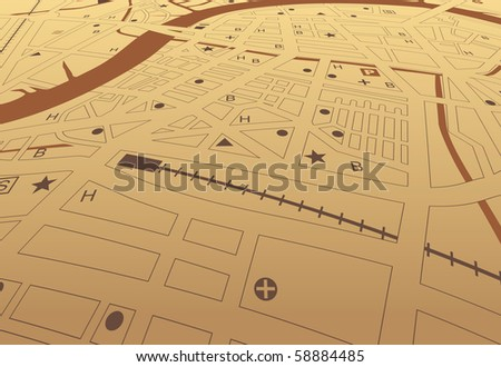 Editable vector streetmap of a generic city with no names - stock vector