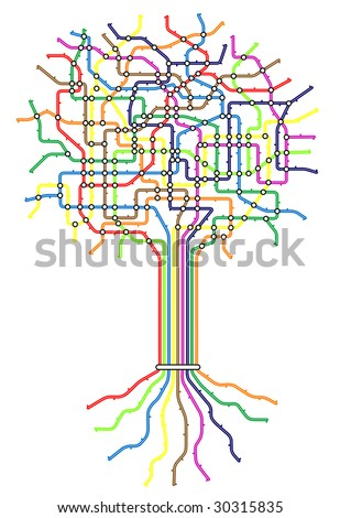 Editable vector subway map in shape of a tree with easy to change line thickness and colors - stock vector